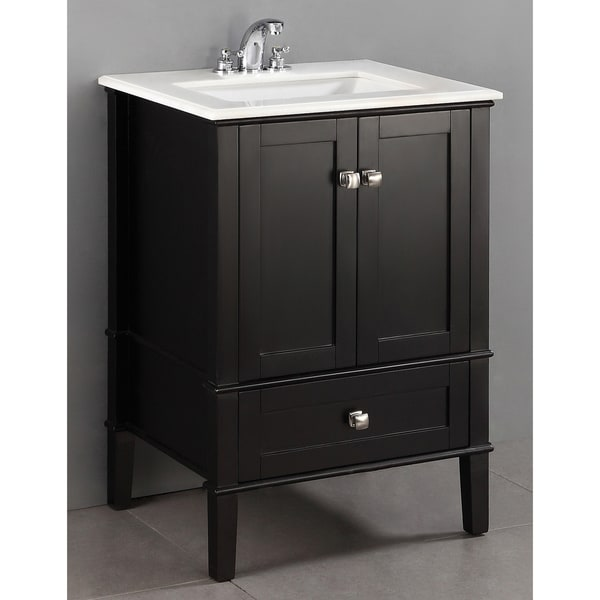 WYNDENHALL Windham Black 24-inch Bath Vanity with 2 Doors, Bottom Drawer and White Quartz Marble Top