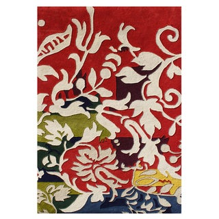 Alliyah Handmade Red New Zealand Blend Rug (5' x 8')