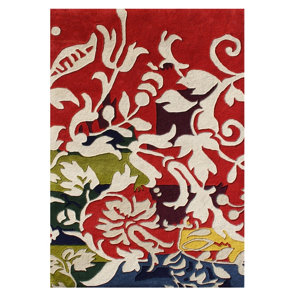 Alliyah Handmade Red New Zealand Blend Wool Rug 5 X 8