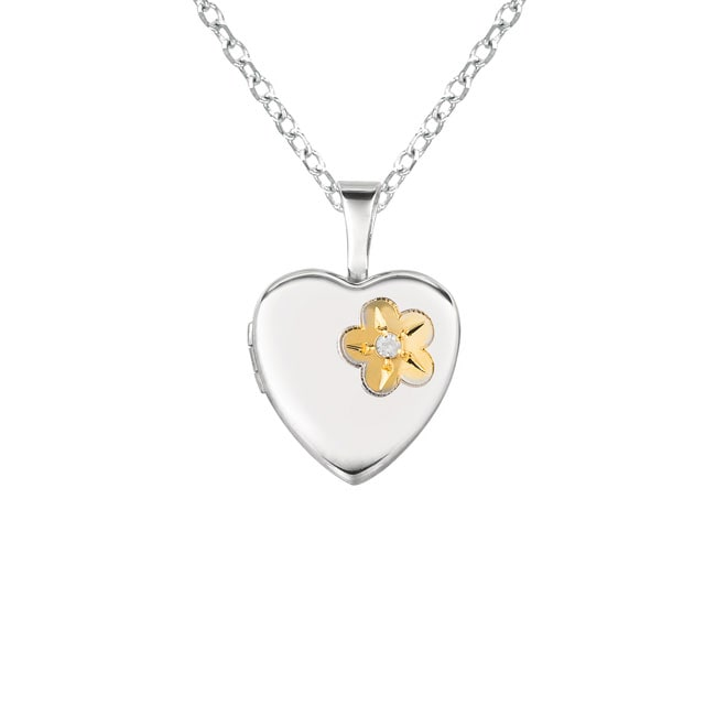 Sterling Silver Diamond Accent Heart Shaped Flower Locket