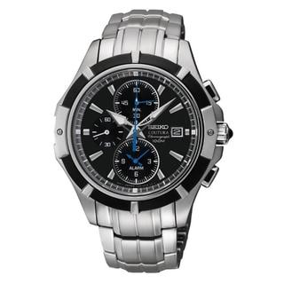 Seiko Men's Coutura Chrono Black Dial Stainless Steel Watch