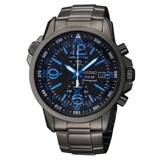 Seiko Men's Solar Chrono Black Ion Compass Watch