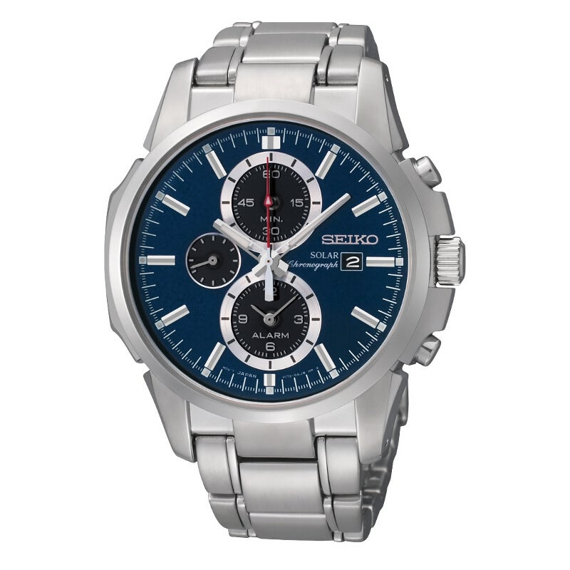 Seiko Men's Solar Alarm Chrono Blue Dial Stainless Steel Watch