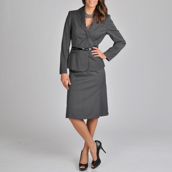 Signature by Larry Levine Women's Belted Career Skirt Suit