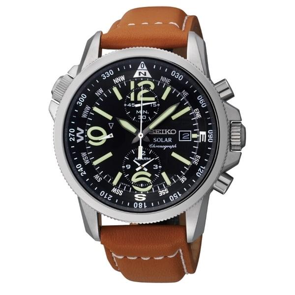 Seiko Men's Solar Chrono Steel Compass Leather Watch