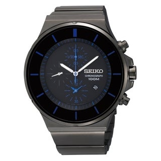Seiko Men's Chronograph Black Ion Blue Accent Watch