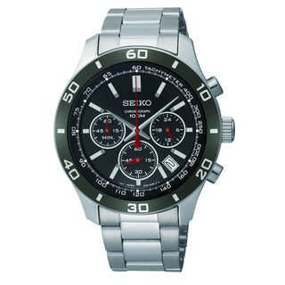 Seiko Men's Chronograph Black Dial Red Hand Watch