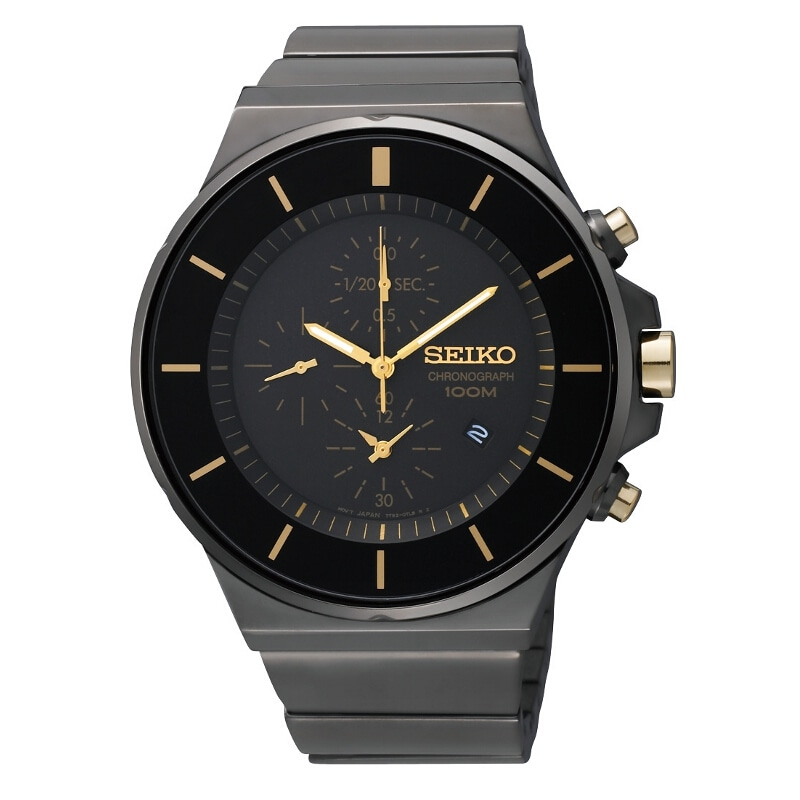 Seiko Men's Chronograph Black Ion Gold Accent Watch
