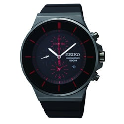 Seiko Men's Chronograph Black Ion Red Accent Watch