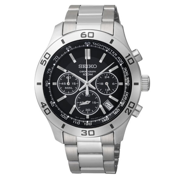 Seiko Men's Chronograph Black Dial Stainless Steel Watch