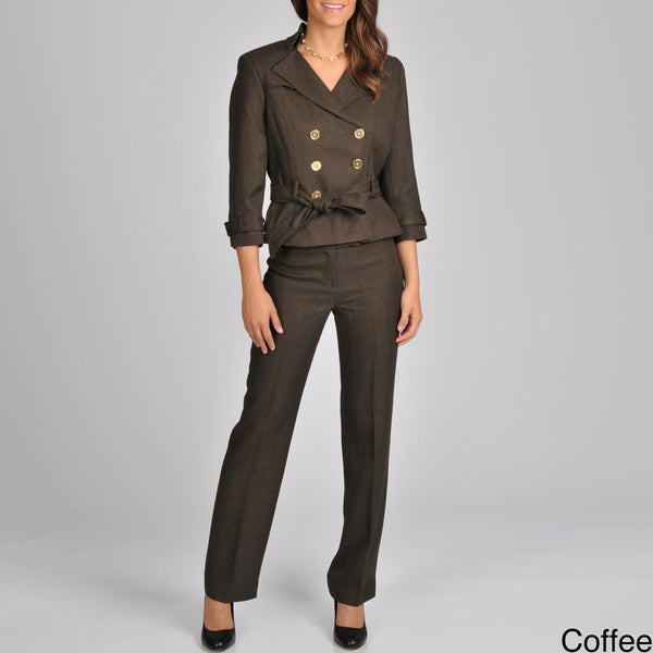 Signature by Larry Levine Women's Double Breasted Herringbone Pant Suit