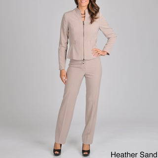 Signature by Larry Levine Women's Zip Front Jacket Pant Suit