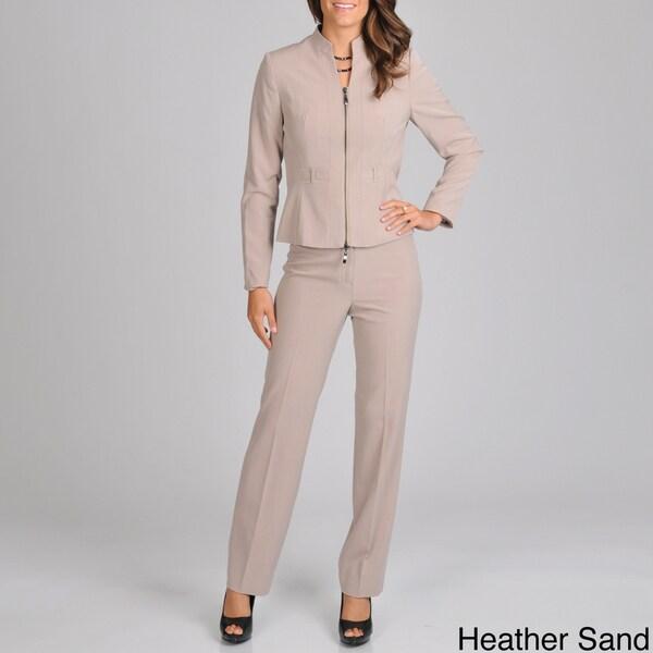 Signature by Larry Levine Women's Zip Front Jacket Pant Suit
