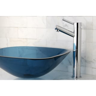 Chrome Faucet and Blue Vessel Sink