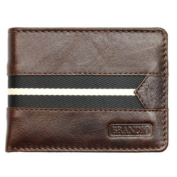 Brandio Fashion Men's Leather Wallet Bi-fold in Brown Black Design