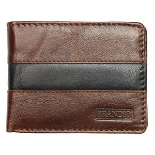 Brandio Fashion Men's Leather Wallet Bi-fold in Brown Black Design.