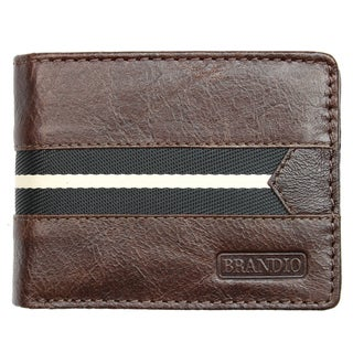 Brandio Fashion Men's Leather Bi-Fold Wallet in Brown Black Design with Fabric Lining