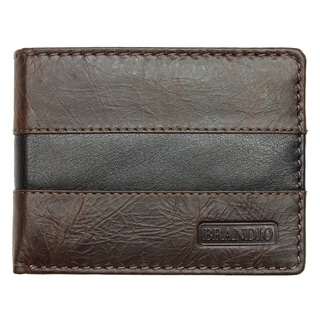 Brandio Fashion Men's Black/ Brown Bi-fold Leather Wallet