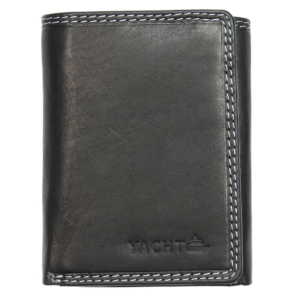 Yacht Fashion Men's Leather Wallet Tri-fold Black Design