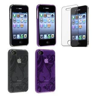 BasAcc Smoke/ Purple TPU Case/ Screen Protector for Apple iPhone 4/ 4S