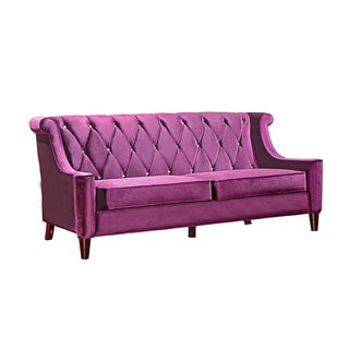 Modern Purple Velvet Sofa With Crystal Buttons