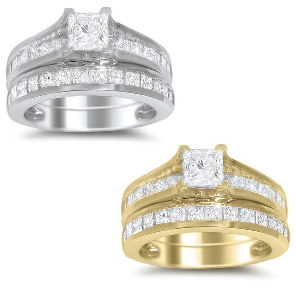 14k White or Yellow Gold 2ct TDW Princess-cut Diamond Bridal Ring Set (H-I, SI2)