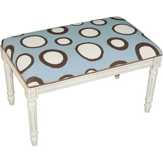 Blue and Brown Dots Needlepoint Bench