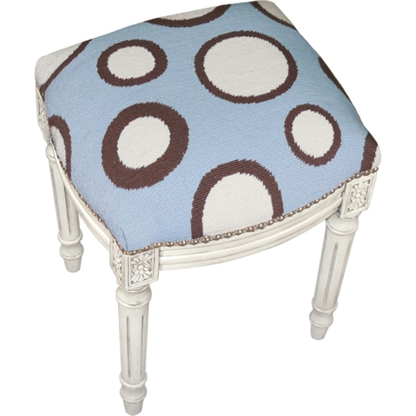 Blue and Brown Dots Needlepoint Stool