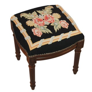 Rose Needlepoint Stool