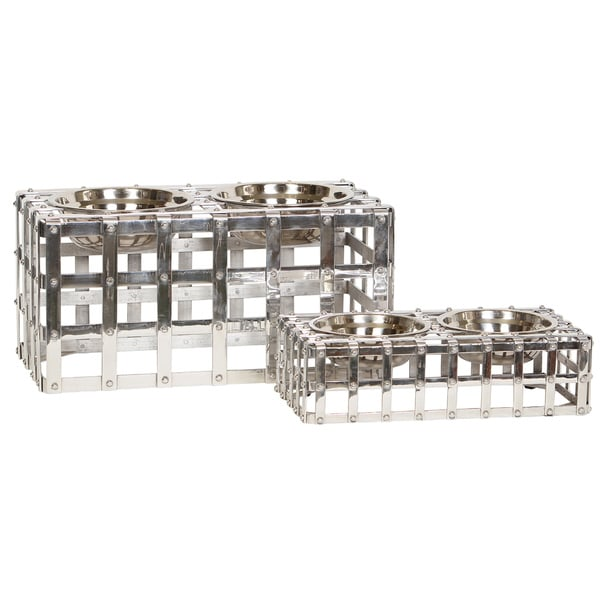 Unleashed Life 'Charters' Metal Table Pet Feeder (Set of 2)