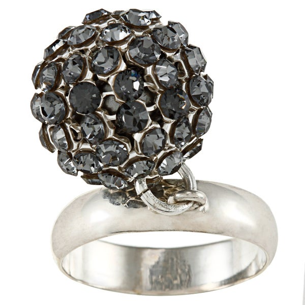 Sterling Silver Crystal Elements Charm Ring