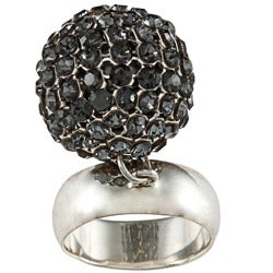 Sterling Silver Crystal Ball Charm Ring