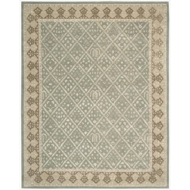 Nourison Hand-tufted Symphony Diamond Pattern Light Green Rug (8' x 11')