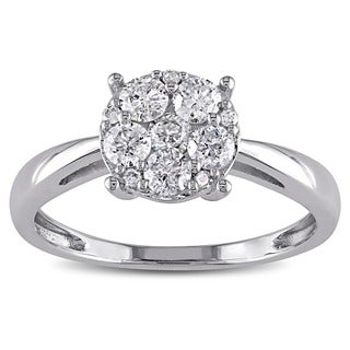 Miadora 10k White Gold 1/10 to 1/2ct TDW Diamond Ring (H-I, I2-I3)