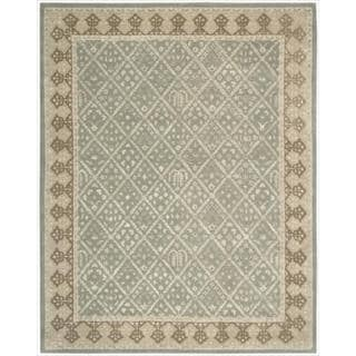 Nourison Hand-tufted Symphony Diamond Pattern Light Green Rug (7'6 x 9'6)