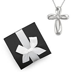 10k White Gold Diamond Cross Necklace with Gift Box (H-I, I2-I3)
