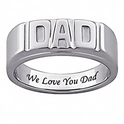 Stainless Steel 'We Love You Dad' Band Fashion Ring