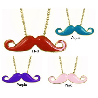 Goldtone Brass Colorful Enamel Mustache Necklace