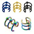 Anodized Surgical Steel Illusion 3-ring Clip-on Ball Ear Cuff