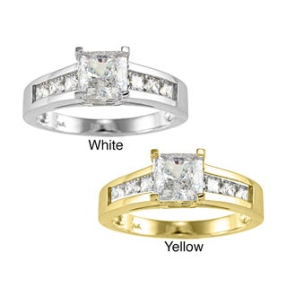 14k Yellow or White Solid Gold 1 3/4ct TGW Princess cut Cubic Zirconia Engagement Ring