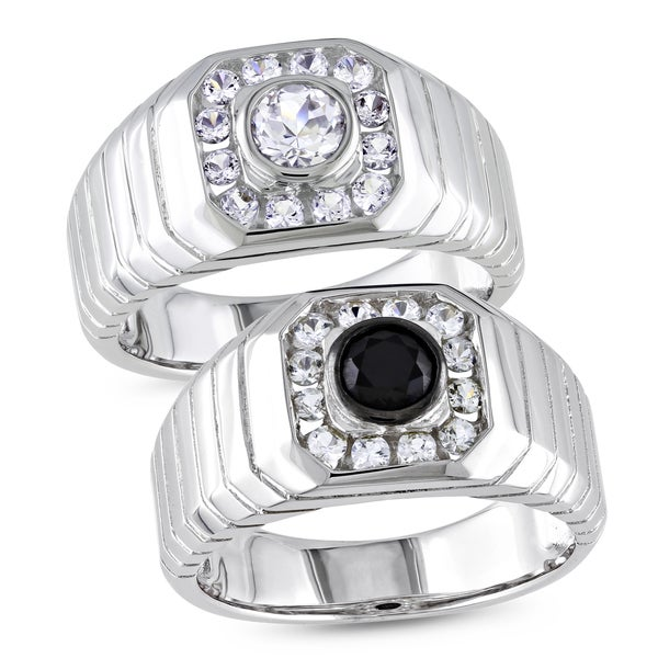 Miadora Sterling Silver Men's White or Black Gemstone Ring