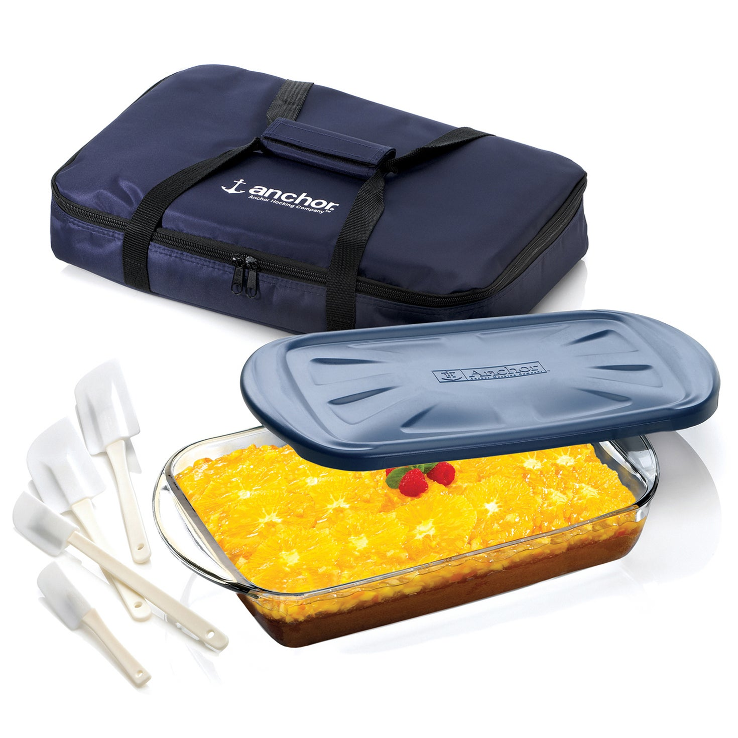 Anchor Hocking� 3 piece Essentials� Ovenware Set with Tote Bag