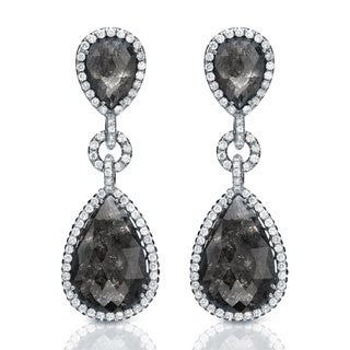 Auriya 14K White Gold 21ct TDW Black Diamond Dangle Earrings (G-VS1)