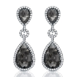 14K White Gold 21ct TDW Black Diamond Dangle Earrings (G-VS1)