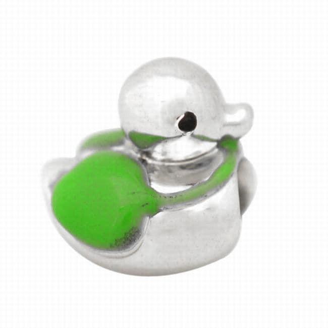 De Buman Sterling Silver Enamel Duck Charm Bead