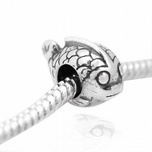De Buman Sterling Silver Fish Charm Bead