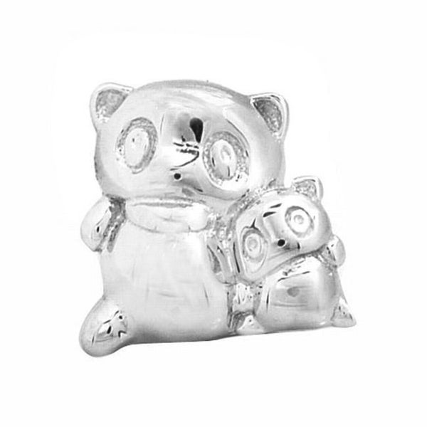 De Buman Sterling Silver Panda Mother and Son Charm Bead