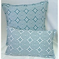 Corona Decor Turquoise-and-White Indoor/Outdoor Decorative Throw Pillow Set with Removable Cover