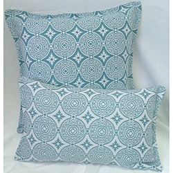 Corona Decor Turquoise-and-White Indoor/Outdoor Decorative Throw Pillow (Set of 2)