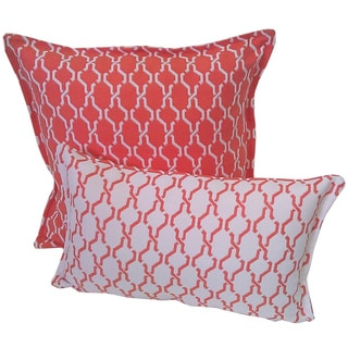 Corona Decor Tangerine and White Indoor/ Outdoor Decorative Throw Pillow Set